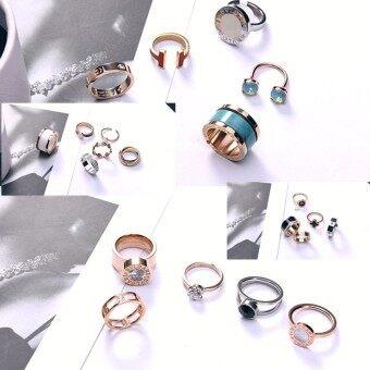 18 K western style rose gold diamond set titanium steel ring