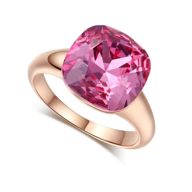 18 K Platinum Berlapis Batu Besar Batu Permata Merah Muda Sepanjang Lingkaran-Internasional