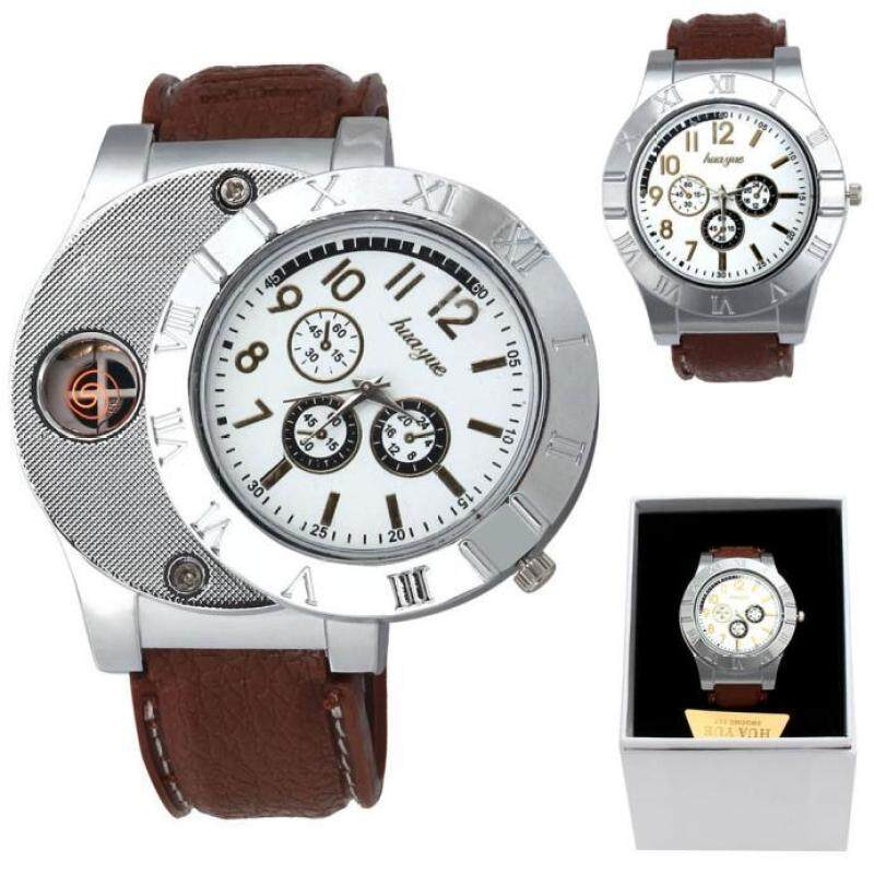 1PC Windproof Casual Military Quartz Watch USB Cigarette Cigar  Brown Flameless Lighter Malaysia