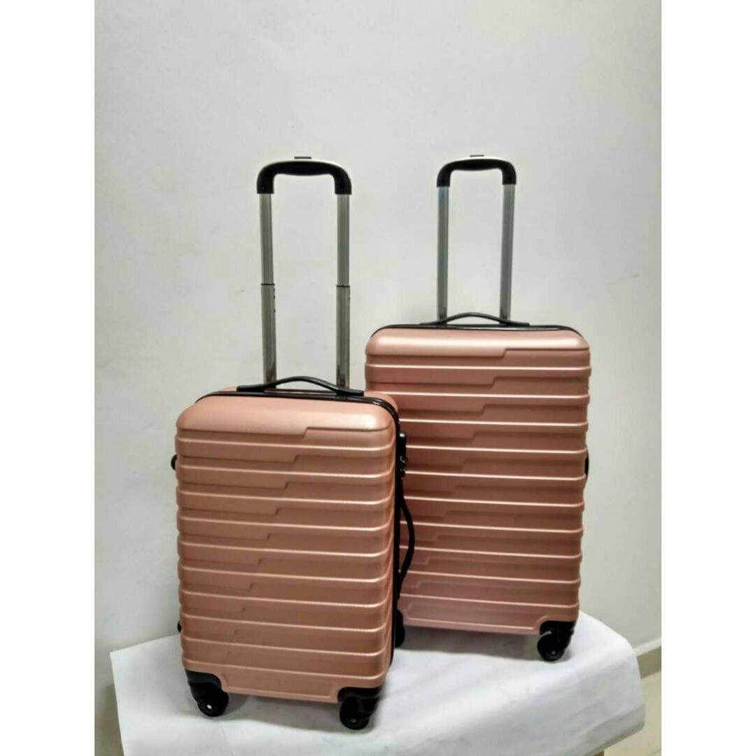 2 in 1 Luggage Bag Set Travel Bag with Wheel (rose gold)