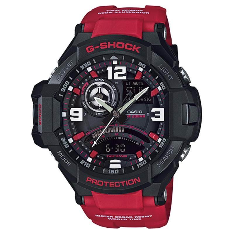 (2 YEARS WARRANTY) Casio ORIGINAL G-SHOCK Gravity Master GA-1000-4B Mens Watch (Black and Red) Malaysia