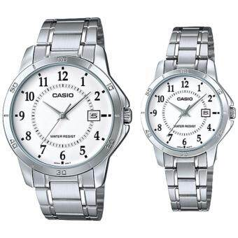Harga (2 YEARS WARRANTY) CASIO ORIGINAL MTP-V004D-7B & LTP-V004D-7B COUPLE WATCH