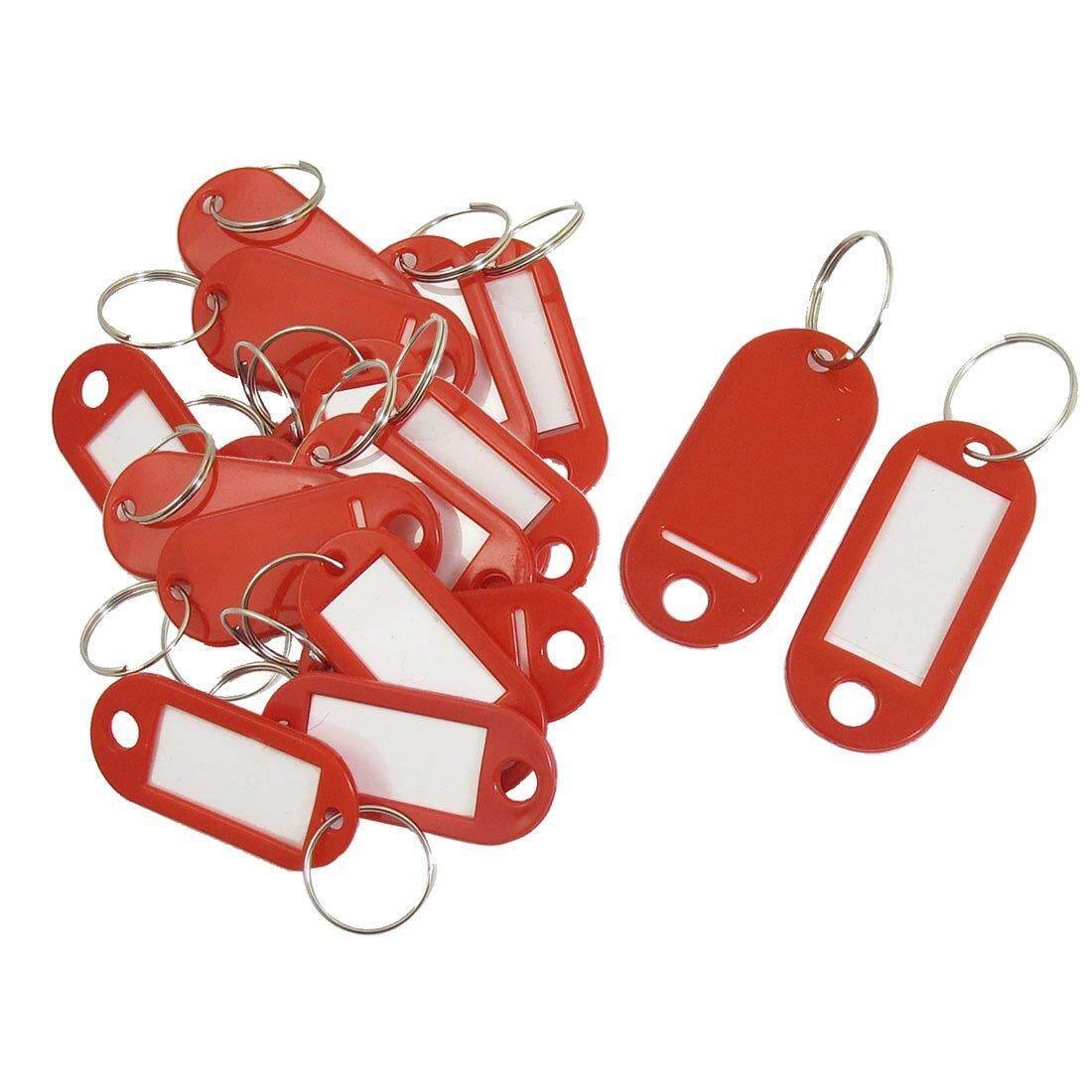 20 Pcs Kunci Identitas Label Label Split Lingkaran Gantungan Kunci Merah-Internasional
