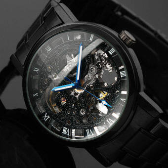 Harga 2016 New Black Men's Skeleton WristWatch Stainless Steel AntiqueSteampunk Casual Automatic Skeleton Mechanical Watches Male