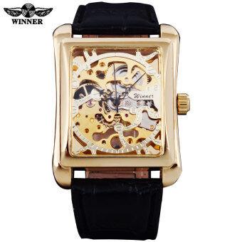 2016 Winner Brand Jam tangan lelaki Rectangle Mechanical Hand Wind Jam tangan Male Golden Skeleton Dial