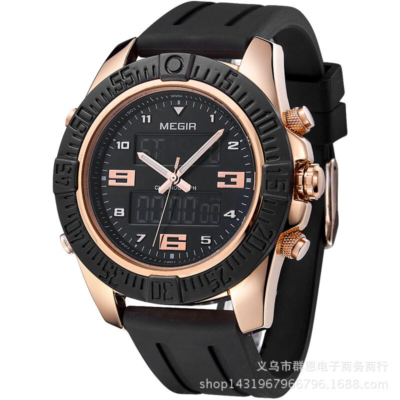 2017 new meikeer MEGIR watch multifunctional calendar men double display watch 2038G Malaysia