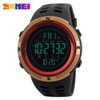 2017 New SKMEI 1251 Men Sports Watches 50M Waterproof Watches Countdown Double Time Watch Alarm Chrono Digital Wristwatches - Black Gold Red