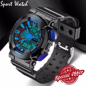 Harga 2017 New Watch Men G Style Waterproof Sports Military Watches S Shock Fashion LED Digital Watch Men(black and blue)