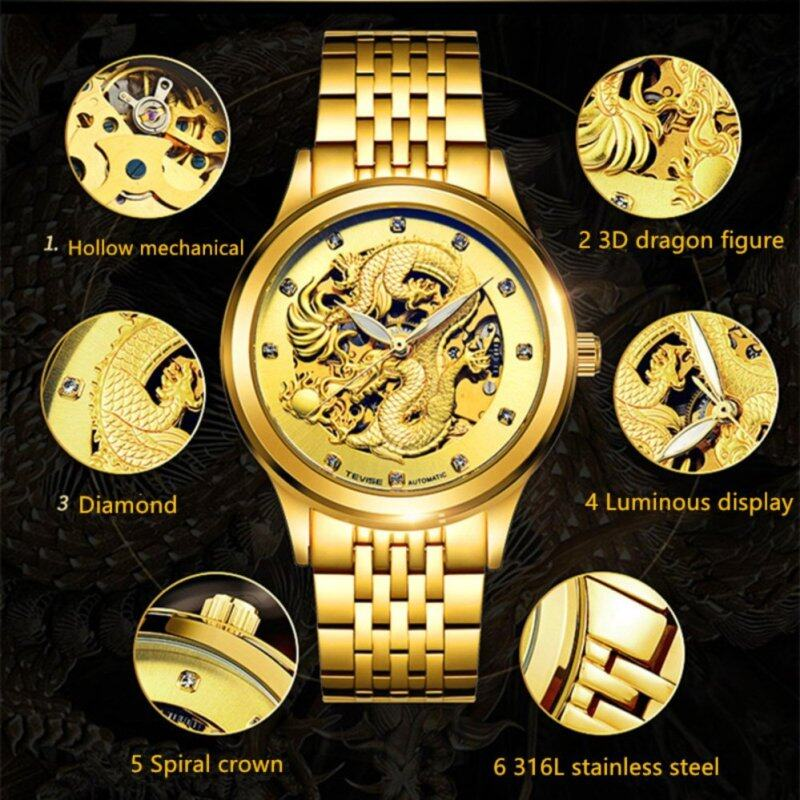 2017 Popular Top Brand Tevise Luxury golden 3D  dragon Hollow design transparent dial Diamond Waterproof Men Automatic Mechanical Watch  9006 Malaysia
