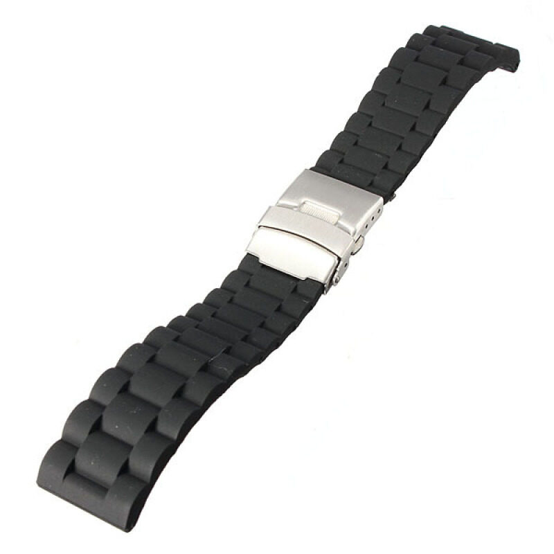 22mm Silicone Rubber Watch Strap Band with Steel Deployment Buckle Waterproof Malaysia
