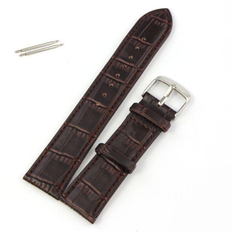 22mm Soft Genuine Leather Strap Steel Buckle Wrist Watch Band Brown Malaysia