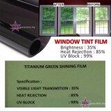 Broz (2ft x 4ft) Titanium Green Shining Film 35% Solar Control Window Film Tint Film For Residencial Home Commercial Building Apartment Condo Door Window Windscreen