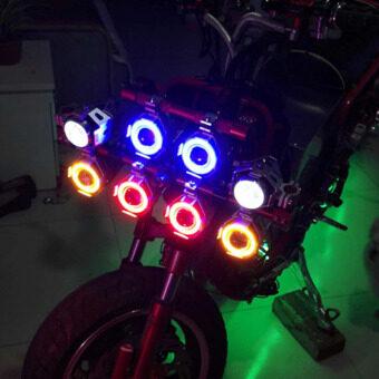 2PCS 125W 12V Motorcycle Headlight Motorbike 3000LM Spotlight U7 LED Waterproof Fog Spot Light (Black Shell Green Angel Light)(...) - 4