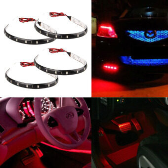 2pcs 30cm Newest 12 LED 30cm 5050 SMD LED Strip Light CarAccessories Waterproof Car Decor-White - 5