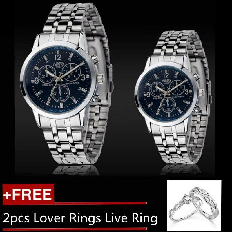 2pcs Man and Woman Watches Couples Watches Steel Strip Quartz Lover Watch Gift + 2pcs Free Lover Rings Live Ring - Blue Malaysia
