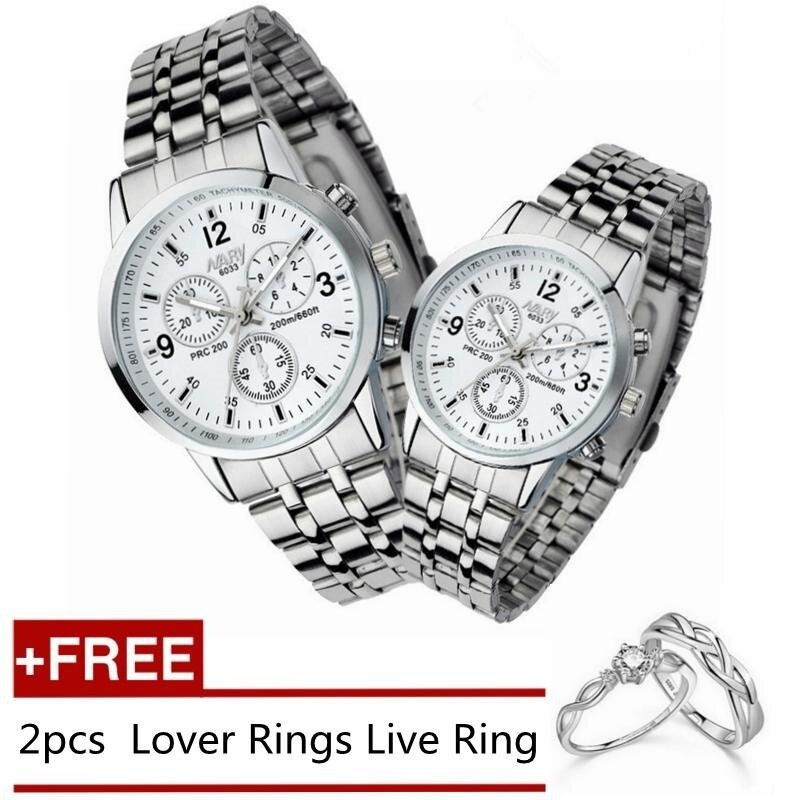 2pcs Man and Woman Watches Couples Watches Steel Strip Quartz Lover Watch Gift + 2pcs Free Lover Rings Live Ring - White Malaysia