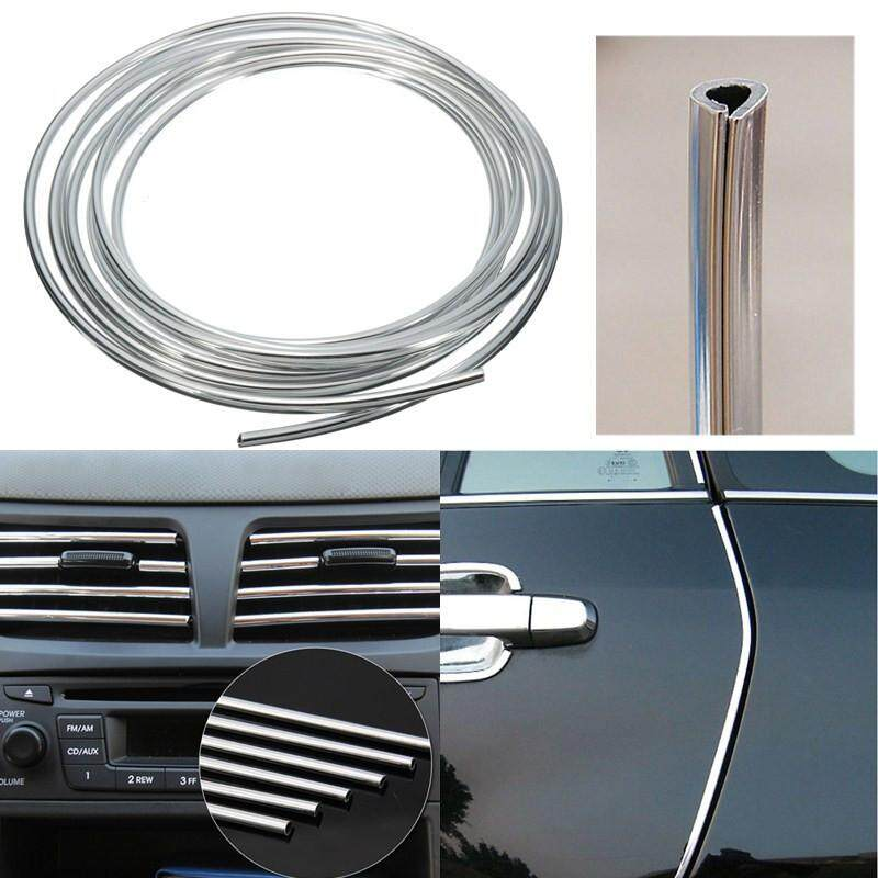 Jual 2Pcs Silver Car Interior Decor Door Chrome Moulding Trim Strip U Style 4M Sliver Intl Satu Set