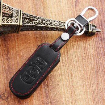 Harga 3 Button Leather Car Remote Key Holder Case Cover Chain with Buckle for Mazda 2 3 6 CX-5 CX-7 CX-9 MX-5 Axela Atenza Black