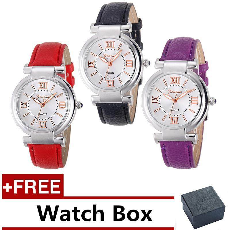 3 Pcs /set Geneva Womens Fashion Waterproof Quartz Watch Ladies Casual Leather Band Watch (Black , Red and Purple ) + Free Watch Box Malaysia