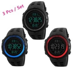 04b6bd80195 3 Pcs   Set SKMEI Men Sports Watches Countdown Double Time Watch Alarm  Chrono Digital Wristwatches 50M Waterproof Watches 1251 ...