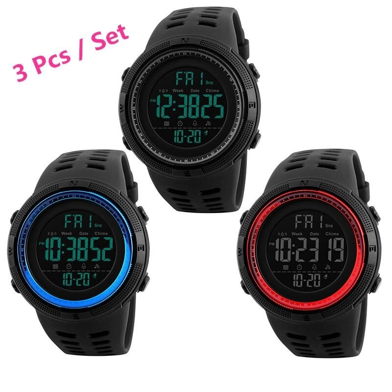 3 Pcs / Set SKMEI Men Sports Watches Countdown Double Time Watch Alarm Chrono Digital Wristwatches 50M Waterproof Watches 1251 - (All Black, Red,Blue) Malaysia