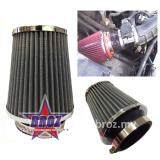 "Broz 3""Air Cleaner High Flow Car Trunk Racing Cold Air Intake Filter Cone Tapered (Grey)"