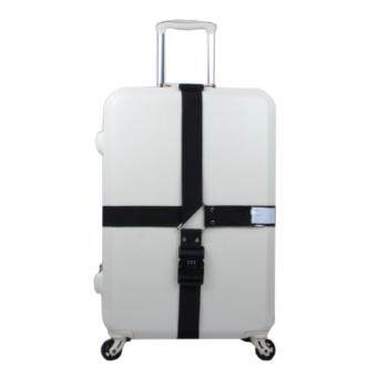 360DSC Adjustable Password Lock Luggage Suitcase Cross Strap Travel Baggage Bag Belt with Tag - Black