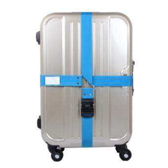 360DSC Adjustable Password Lock Luggage Suitcase Cross Strap Travel Baggage Bag Belt with Tag - Blue