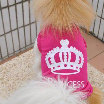 360DSC Puppy Dog Summer Vest Crown Waistcoat Vest Shirt Clothes Fashion Summer Apparel Costumes - Rosy