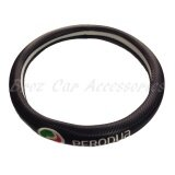 38cm (M size) Perodua Carbon Fiber Leather Steering Wheel Cover Color - Black