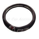 38cm (M size) R3 Race Rally Research Carbon Fiber Leather Steering Wheel Cover Color - Black