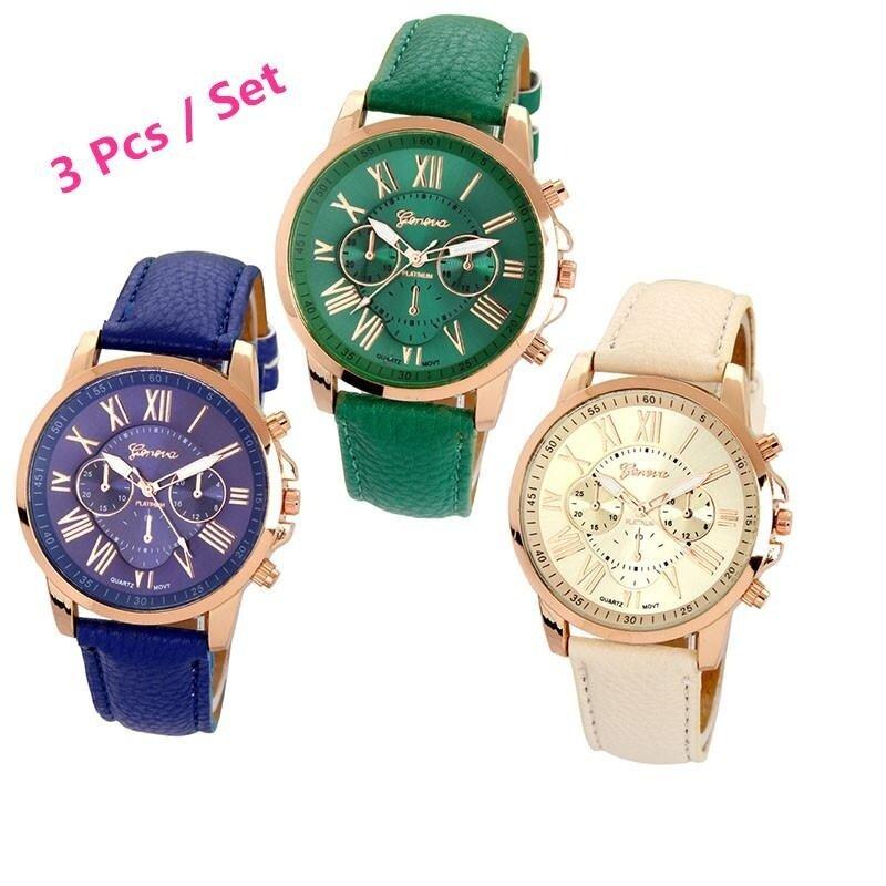 3Pcs / set Geneva Womens Fashion Roman Numerals Faux Leather Analog Quartz Wrist Watch ( Blue,Green, Beige ) Malaysia