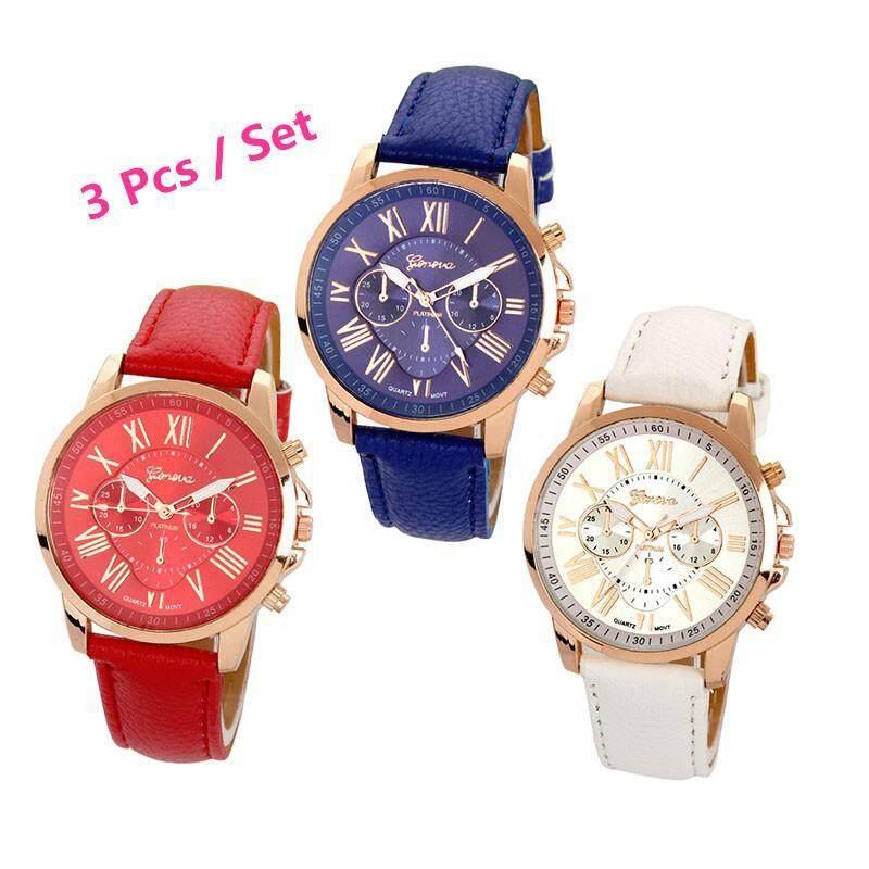 3Pcs / set Geneva Womens Fashion Roman Numerals Faux Leather Analog Quartz Wrist Watch ( Blue,Red and White) Malaysia