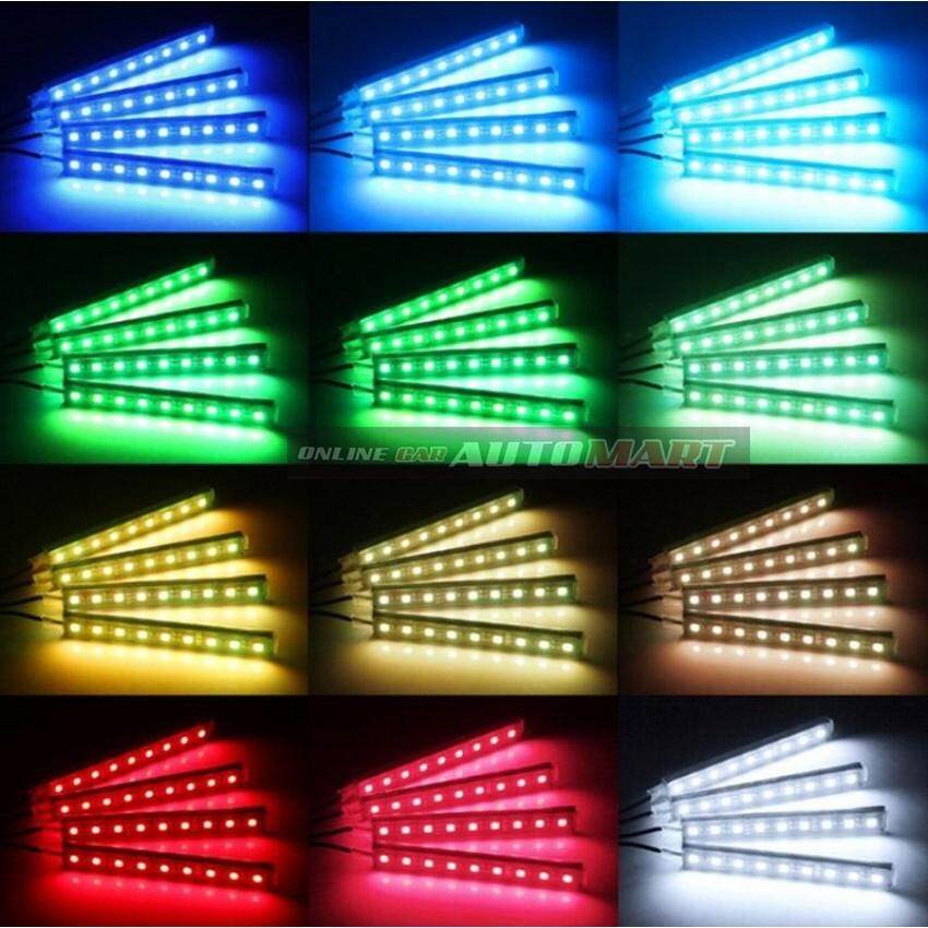 4Pcs/Set Car Interior Decorative RGB LED Strip Light Atmosphere Lamp Kit Foot Lamp With 24 Key Remote Controller