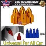 Broz 4x Aluminum Plane Car Air Port Cover Tire Rim Valve Wheel Stem Caps Yellow