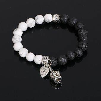 Harga 5 colors New Arrival Mens Beaded Jewelry Lava Stone Beads crownBracelets Party Gift Jewelry