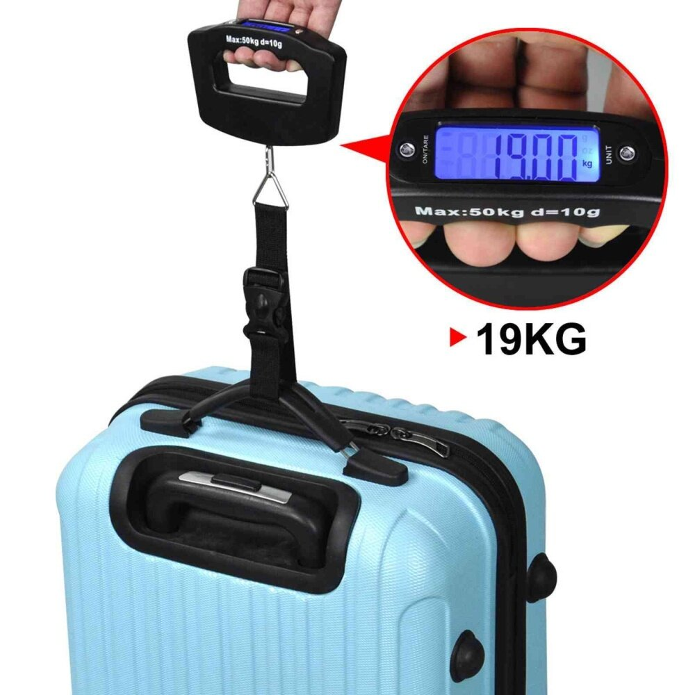 50kg Portable Electronic Luggage Scale LCD Display Travel Digital Luggage Scales Hanging Backlight Balance Weighing image on snachetto.com