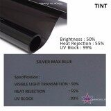 Broz (5ftx100ft) Silver Max Blue 50% Solar Control Window Film Tint Film For Car Front Windscreen