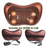 6 ROLLER Multifunction Massage Pillow for Car/Home Dual Use Full Body Cushion Cervical Massager Electric Muscle Stimulator Leg Neck Care (Brown)