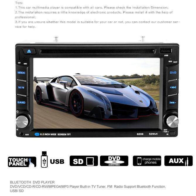 6.5 Double 2DIN Touch Mobil Stereo Pemutar CD DVD Bluetooth USB SD FM .