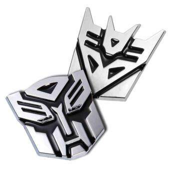 Harga 7cm Silvery Personalized Transformers Autobot Car Metal DecalSticker - Intl