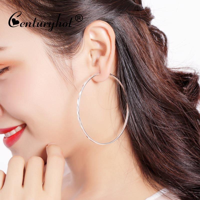 925 Besar Perak Telinga Lingkaran Wanita Kepribadian Di Bagian Panjang Korea Pelebaran Lingkaran Lingkaran Telinga Klip Anting-Anting anting-Anting-Internasional