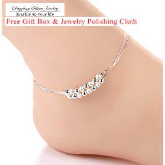 Harga 925 Silver Jewelry Anklet Bracelet Double Chain Shining Beads 82