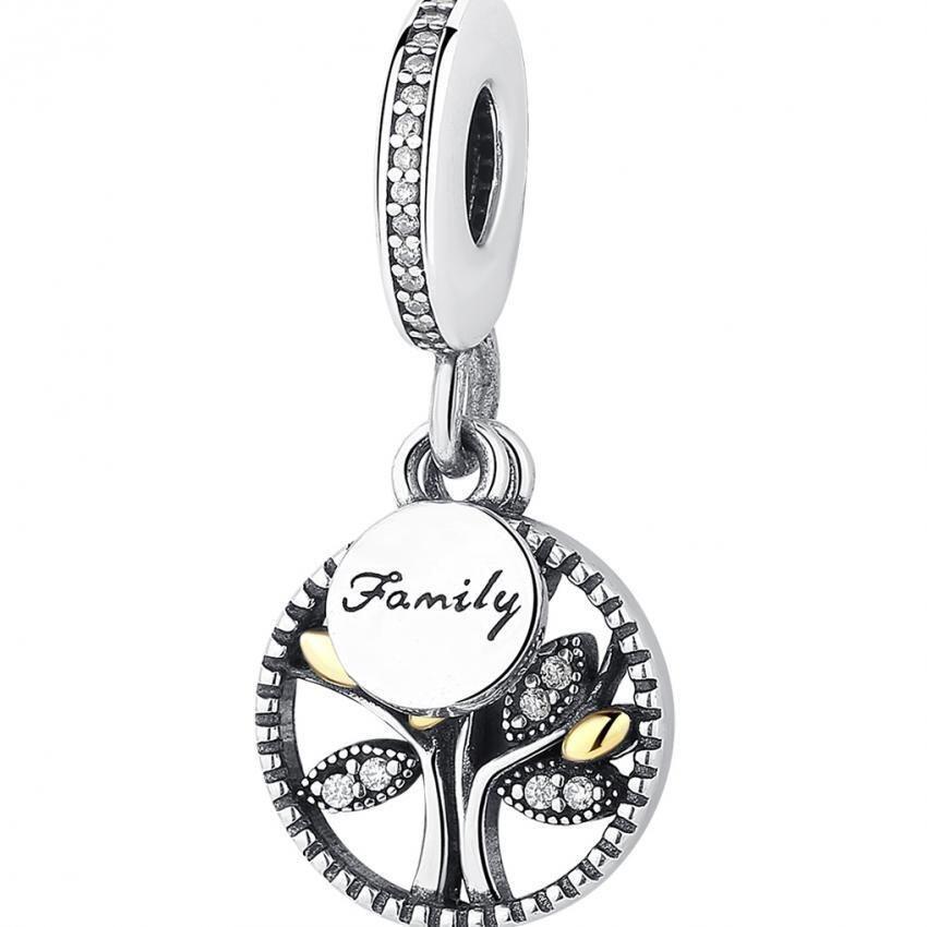 Tips Beli 925 Sterling Silver Family Tree Silver Dangle Dengan 14 K Dan Clear Cubic Zirkonia Charm Fit Gelang Perhiasan Membuat Pas306