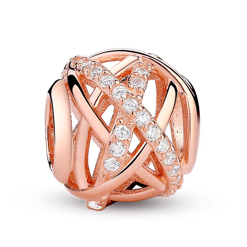 Cuci Gudang 925 Perak 925 Galaxy Mawar And Jelas Cz Charm Gelang Sesuai With 14 Karat Berlapis Emas Perhiasan Membuat Pas120