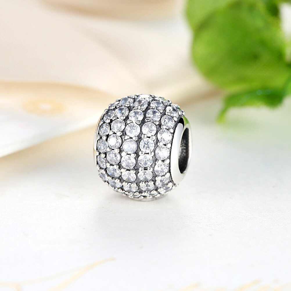 Harga 925 Sterling Silver Pave Czech Bead Ball Charm Fit Bracelet With Clear Cubic Zirconia Diy Accessories Jewelry Pas069 Yg Bagus