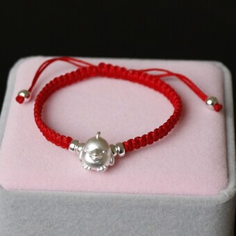 999 12 couple chicken years natal red string silver bracelet