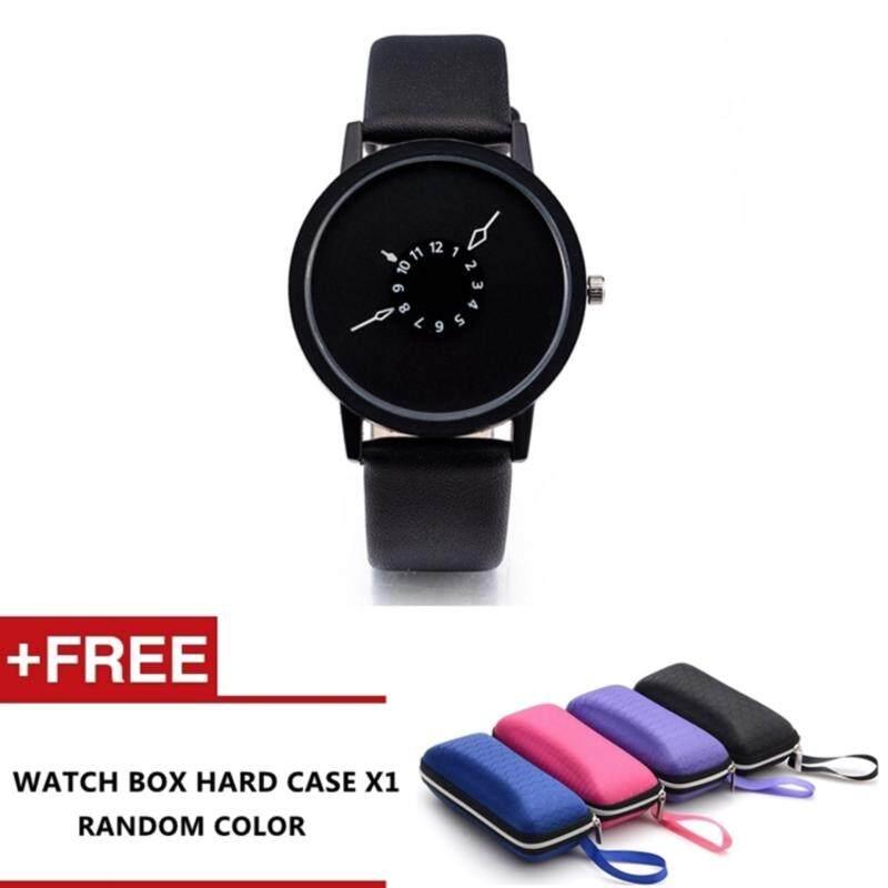 Aavin Mens Couple Fashion Leather Band Wrist Watch Quartz Watch (Black) Malaysia