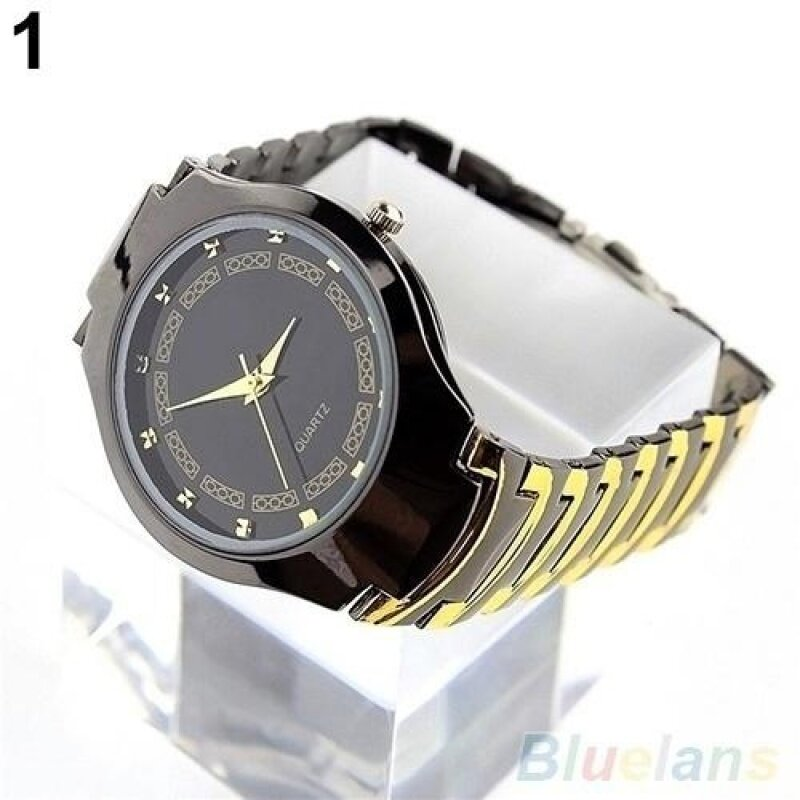 ADDC Luxury Mens Business Casual Stainless Steel Link Chain Wristwatch Quartz Round dial Watch(Black) Malaysia