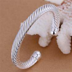 Toko Allwin B030 Keren Berlapis Perak Anti Memutar Badan Manset Gelang Perhiasan Tangan B030 Lengkap Tiongkok